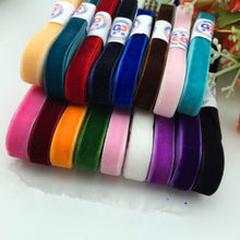 "New 5yard/lot 3/8"" 10mm width multi colors options velvet ribbon velour webbing headband Hair band accessories white lace fabric(China)"