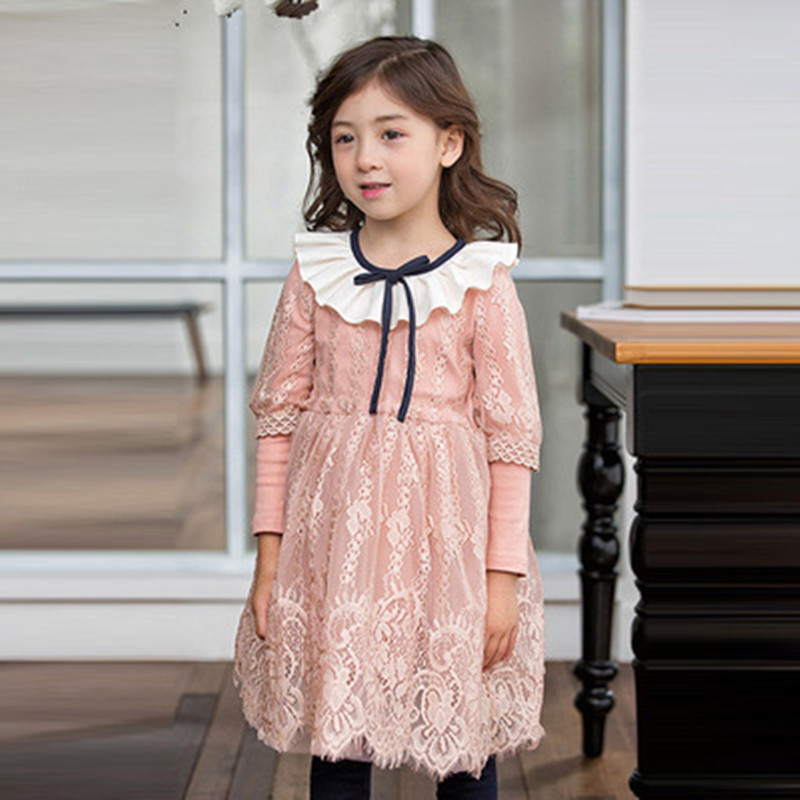 Girls Princess Dress Long Sleeve Autumn Winter Kids Dresses For Girls Baby Girl Lace Floral Party Evening Dress Children Clothes new 2017 baby girls ruffle sweater dress kids long sleeve princess party christmas dresses autumn toddler girl children clothes