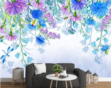 beibehang 3D Custom fashion three-dimensional wall paper simple hand-painted American garden flower TV background 3d wallpaper