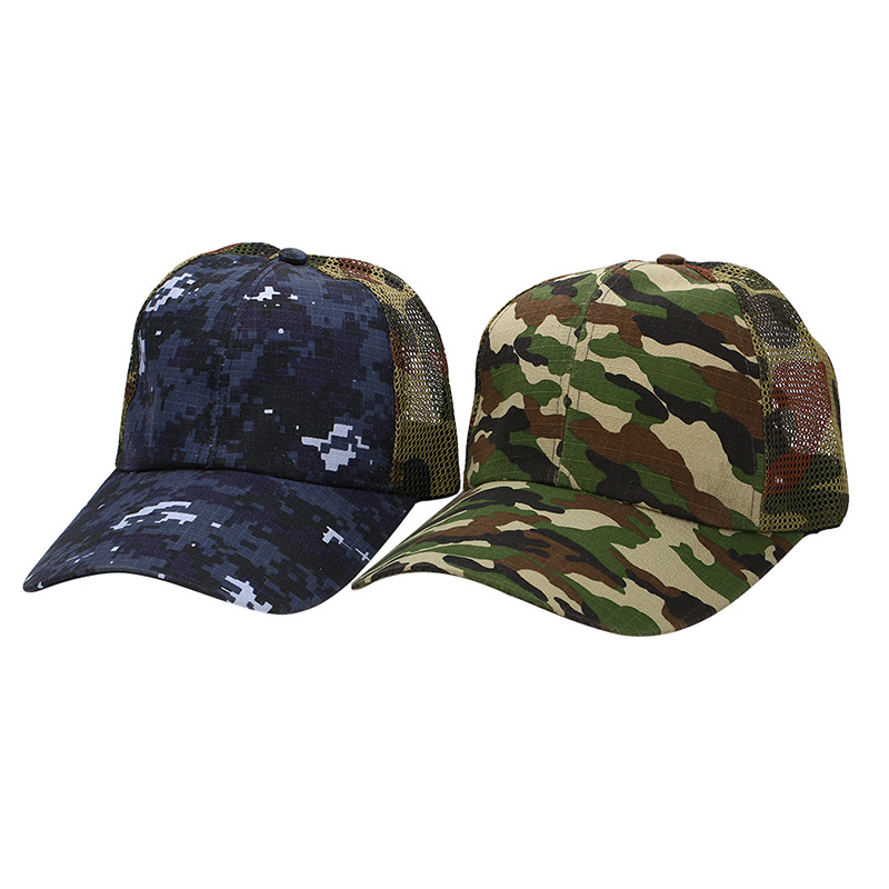 Outdoor Camping Hiking Sports Camouflage Half Mesh Cap Desert Jungle Snap Camo Cap Sport Hats