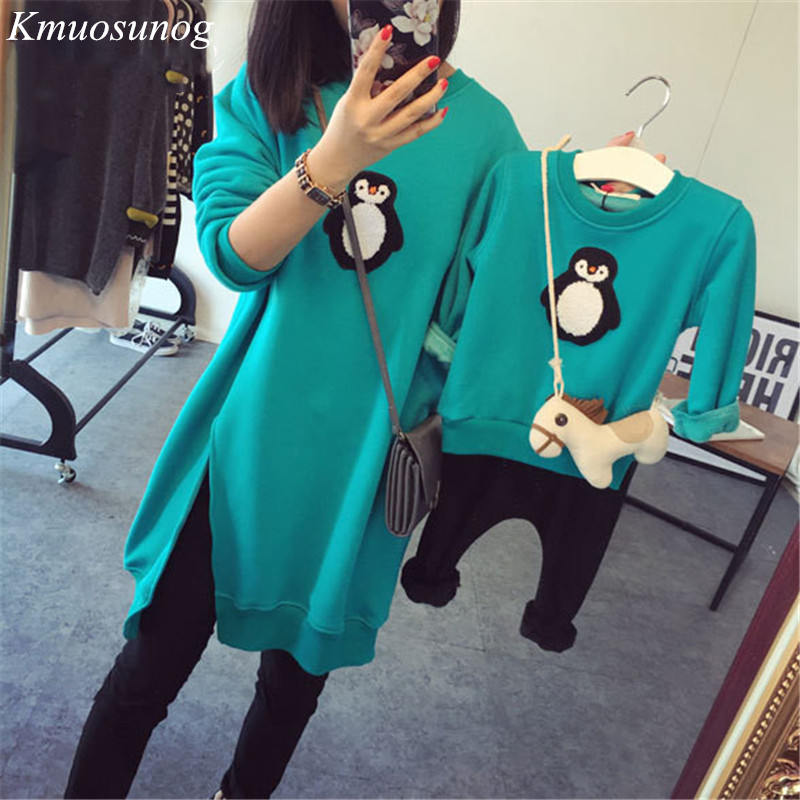 Family Matching Outfits T Shirts Autumn 2019 Mother Kids Girl Boys Shirts penguin clothes Mother Son Long-sleeve Sweaters C0373