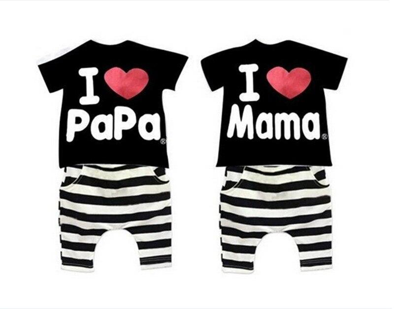 Perakende yeni yaz çocuk giyim grubu erkek ve kız seviyorum anne ve - Çocuk Giyim - Fotoğraf 3