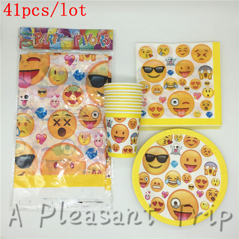 41pcs Lot Luxe Party Set Emoji Themed Disposable Tableware Smile Faces Kids Birthday Supplies Baby Shower In From