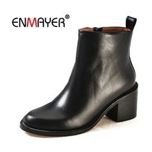 ENMAYER Women Ankle boots Fashion solid square toe slip-on Woman shoes lady square heels botas mujer Size 34-39 Winter CR1700 цены онлайн