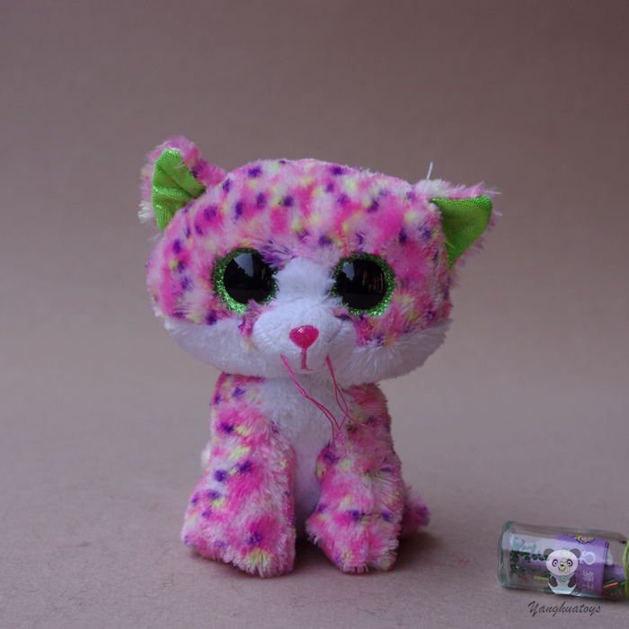 Stuffed Animal Toy Cute Pink Leopard Cat Doll  Big Eye  Plush Cats Toys Child  Gift  Toy Shops