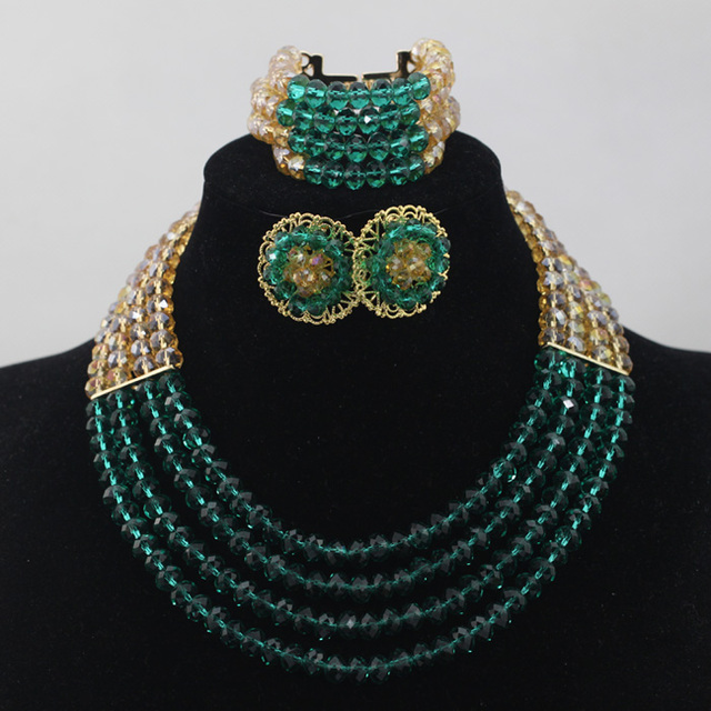 Teal and Gold Chunky African Jewelry Set Crystal Beaded Dubai Necklace Stud Earrings Set 2017 Free Shipping WD492