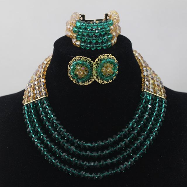 Trullo y Oro Chunky Collar Africano de La Joyería de Cristal Con Cuentas Dubai WD492 Stud Pendientes Set 2017 Envío Libre