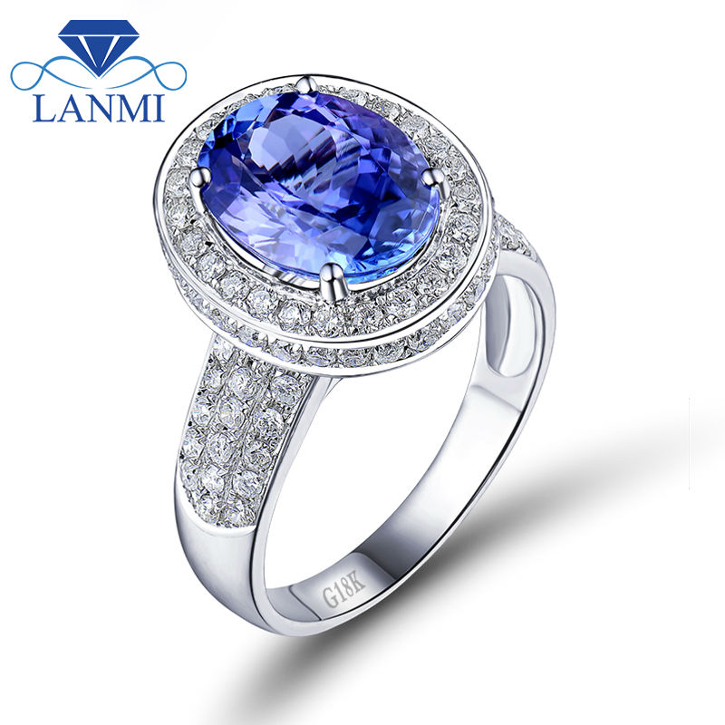 Fantastic Jewelry Oval 9x12mm AAA Tanzanite In 18k White Gold With Dia Engagement Ring SR329A