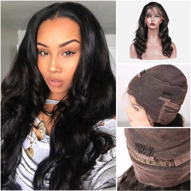Pelucas de cabello humano de encaje completo onda brasileña del cuerpo pelucas de cabello humano envío gratis pelucas para mujeres cabello Virgen Reina
