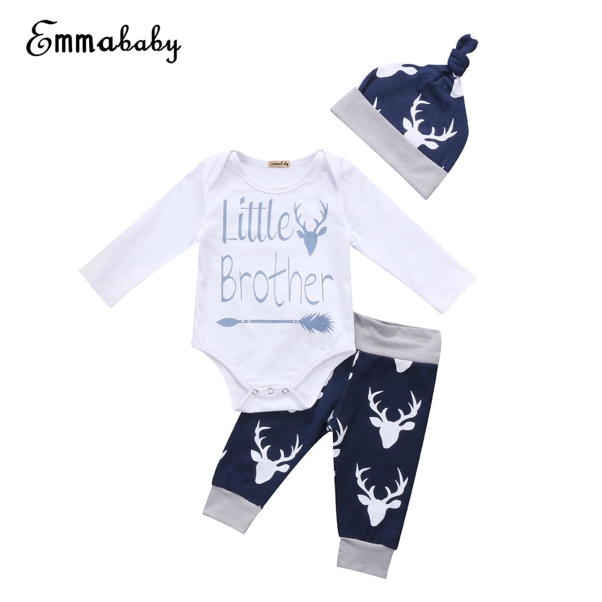 Новый Повседневное детская одежда комплект комплекты из 3 предметов для новорожденных для маленьких мальчиков Топы Корректирующие боди с д...