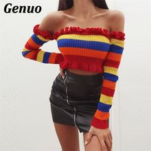 Genuo Women Thick Knitted Color Block Striped Sweater Autumn Winter Crop Top Pullovers Female Jumper Pull Femme Sueter Mujer color block striped jumper
