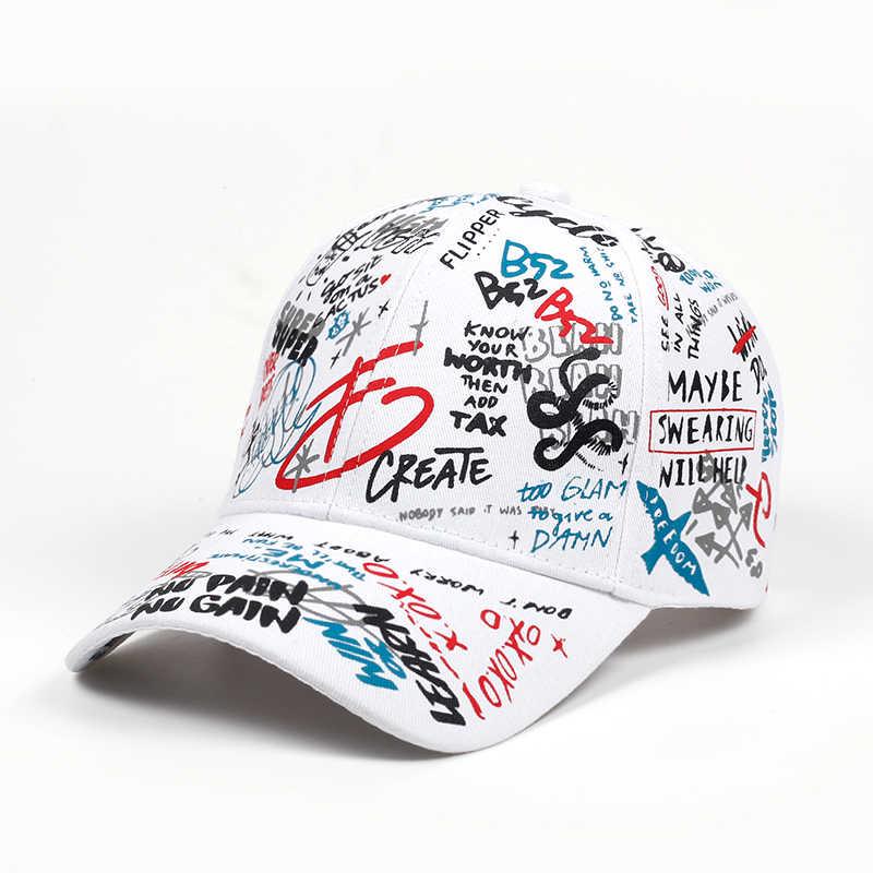 c7ec9830fba 2018 brand Summer Baseball Cap Graffiti Sun Caps Hip Hop Visor Spring Hat  Adjustable Snap-