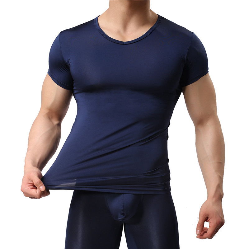 Man Undershirt Ice Silk Spandex Sheer T Shirts Male Nylon V-neck Short Sleeves Tops Ultra-thin Cool Thermal Sleepwear Undershirt