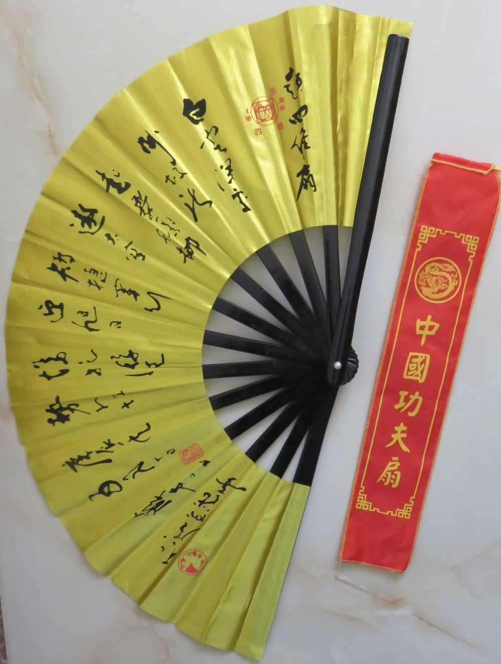 Kung fu taiji fans dicken bambus knochen vierdimensionalen goldene tai chi fan martial arts fan
