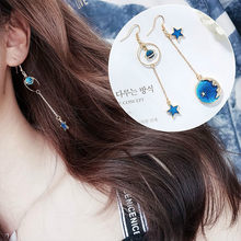 Hot Sale Fashion Drop Earrings Lovely Simple Blue / The Moon / Starry Sky / Long Section Asymmetric Pendant For Ladies Gift(China)