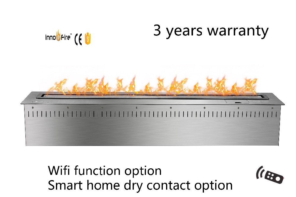 48 Inch Long Remote Control Black  Or Silver Smart Bio Ethanol Electric Fireplace Flame
