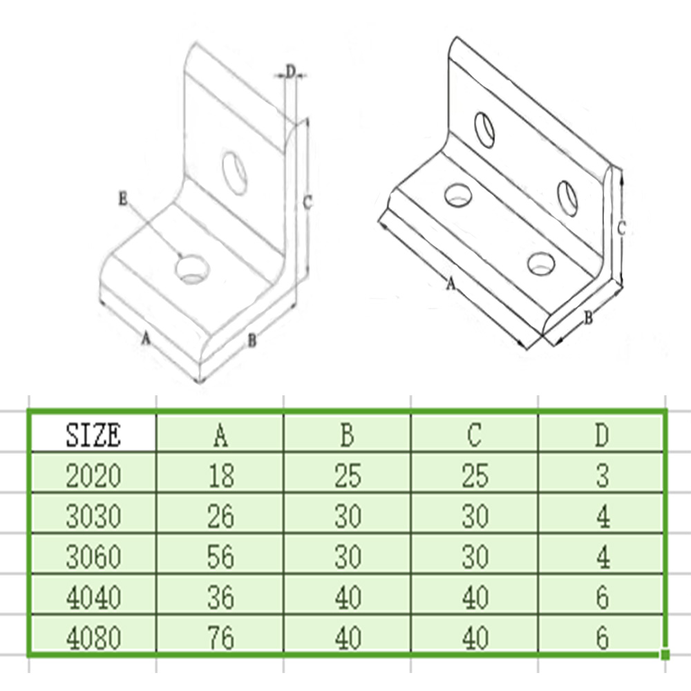 5PCS L type 90 Degree 2020 3030 4040 3060 4080 connector Corner Angle Bracket Connection Joint Strip for Aluminum Profile in Corner Brackets from Home Improvement