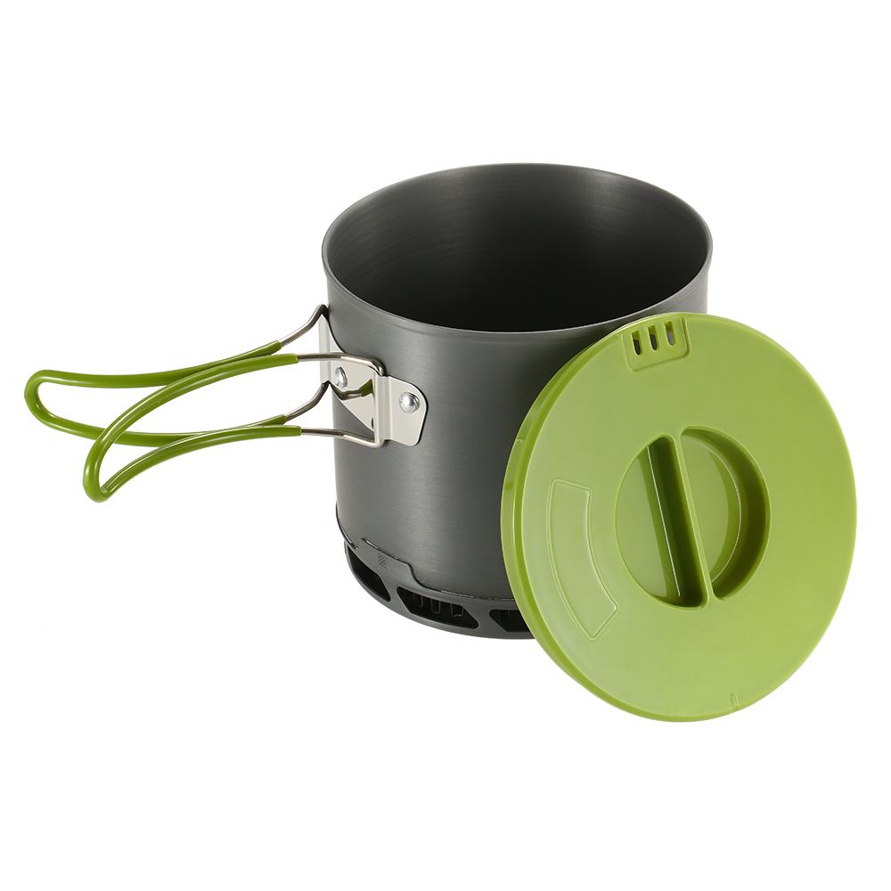 Non-stick Heat Aluminum Pot Collecting Exchanger Pot Outdoor with Foldable Handle Camping Cookware Hiking Picnic Cooking Set