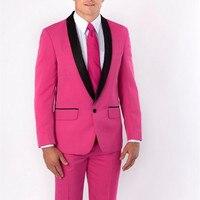 Yeni Varış Groomsmen Şal Siyah Yaka Damat Smokin Hot Pink Erkekler Düğün Suits İyi Adam suit (Ceket + Pantolon + kravat + Handkerchief)
