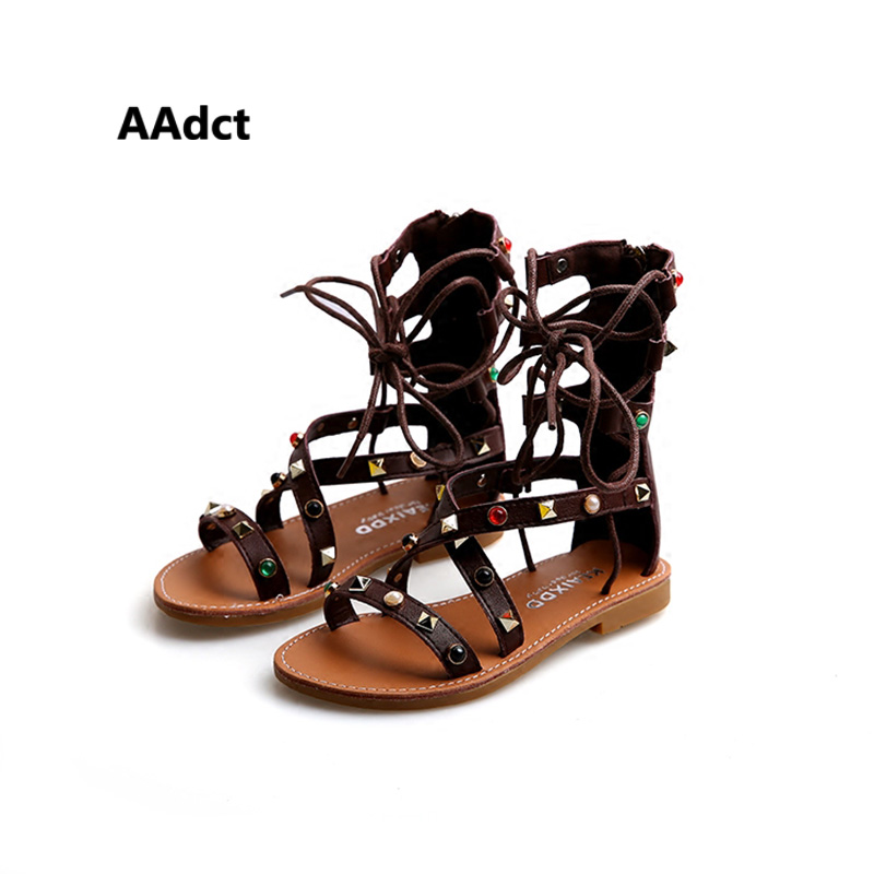 404dc6543f6b 2017 summer fashion princess girls sandals soft sole Rome gladiator kids  sandals rivet Brand High-