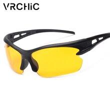 b27eb91381 VRCHIC 2018 nuevo diseño visión nocturna gafas hombres lente amarilla  conducción gafas de sol para las mujeres de seguridad noch.