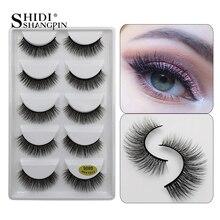 SHIDISHANGPIN 5 pairs eyelashes natural long mink eyelashes hand made 3d false eyelashes makeup full strip lashes 3d mink lashes