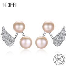DOTEFFIL Earrings Natural Freshwater Pearl 925 Sterling Silver Angel wings Stud Earrings Pearl Jewelry Women Wedding/Party Gift