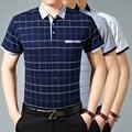 2016 new design men summer fashion plaid short sleeve cotton polo shirt