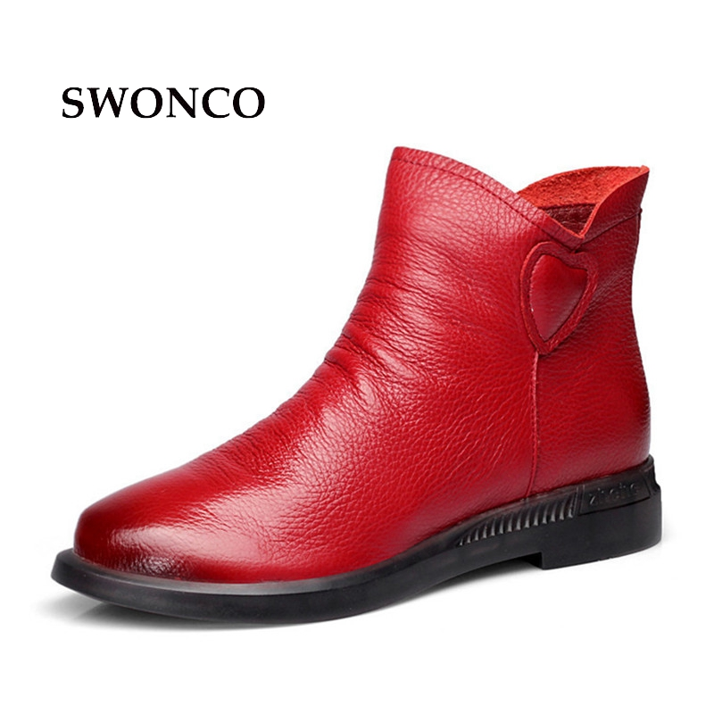 SWONCO Genuine Leather Women Ankle Boots 2018 New Spring Autumn Flats Ladies Boot Black Red Ankle Boots For Women Shoes BootSWONCO Genuine Leather Women Ankle Boots 2018 New Spring Autumn Flats Ladies Boot Black Red Ankle Boots For Women Shoes Boot