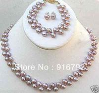 Sỉ vận chuyển miễn phí>>>>> Thời Trang 2 row 7-8 MÉT Tím Akoya Nuôi Cấy Ngọc Trai Necklace bracelet earring