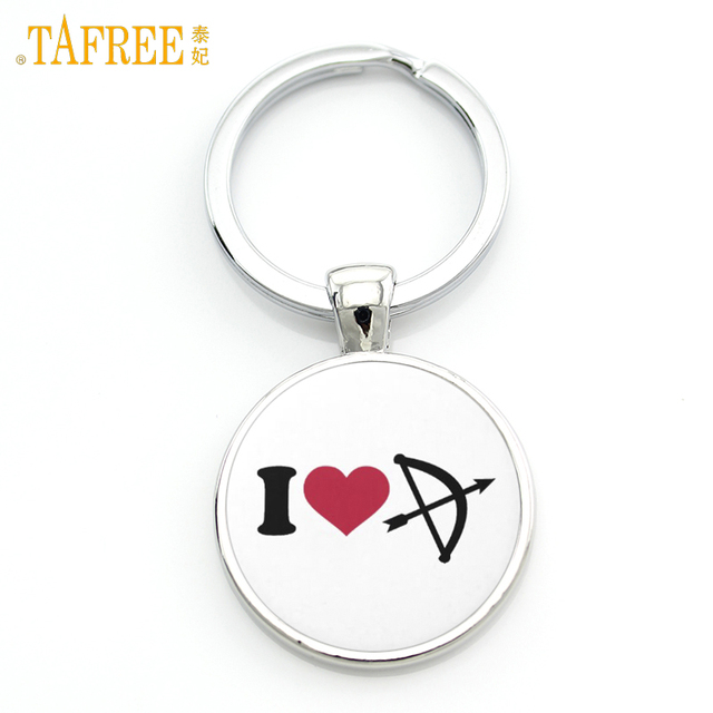 TAFREE Brand I Love Archery keychain simple trendy men women sports lover Peace Love Archery key chain ring holder jewelry SP313