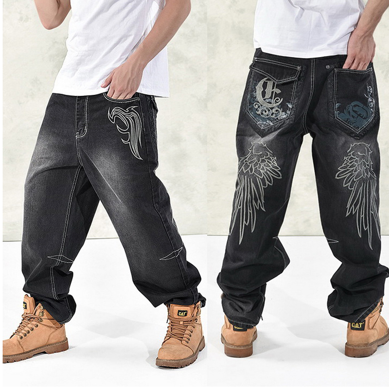 NEW 2018 Fashion Baggy Style Men's   Jeans   HipHop Dancers Loose Big Pocket Boys Skateboard Rap Punk Distressed Plus Size 30-44 46