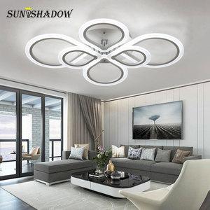 Image 3 - טבעות מודרני Led תקרת אור סלון חדר שינה מנורות שחור לבן אקריליק משטח רכוב נברשת תקרת מנורות