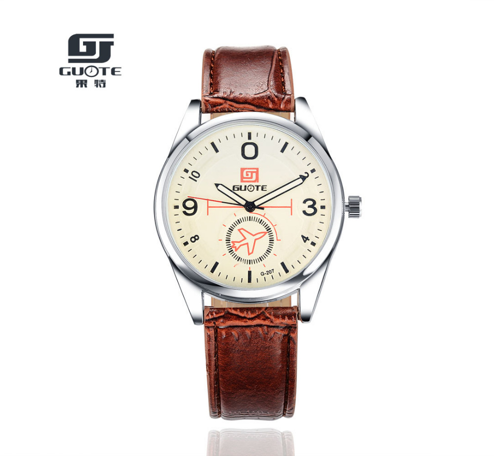 2018 New Fashion Luxury Brand GUOTE Men Elegant Casual Quartz Watch Men Aircraft Leather Strap Watches Relogios Masculinos Hot цена и фото