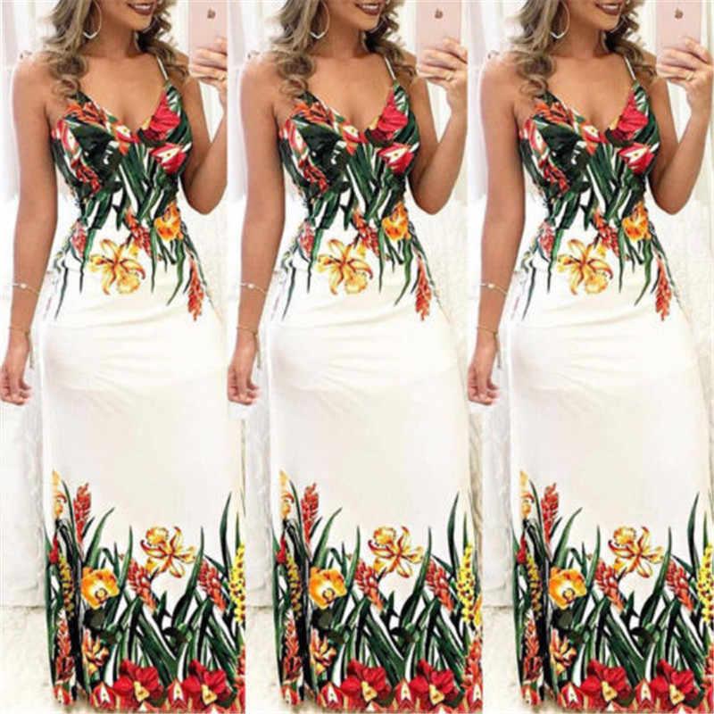 Модное женское Летнее цветочное платье без рукавов с v-образным вырезом, платье бохо, повседневное Длинное Макси Вечернее пляжное платье, сарафан