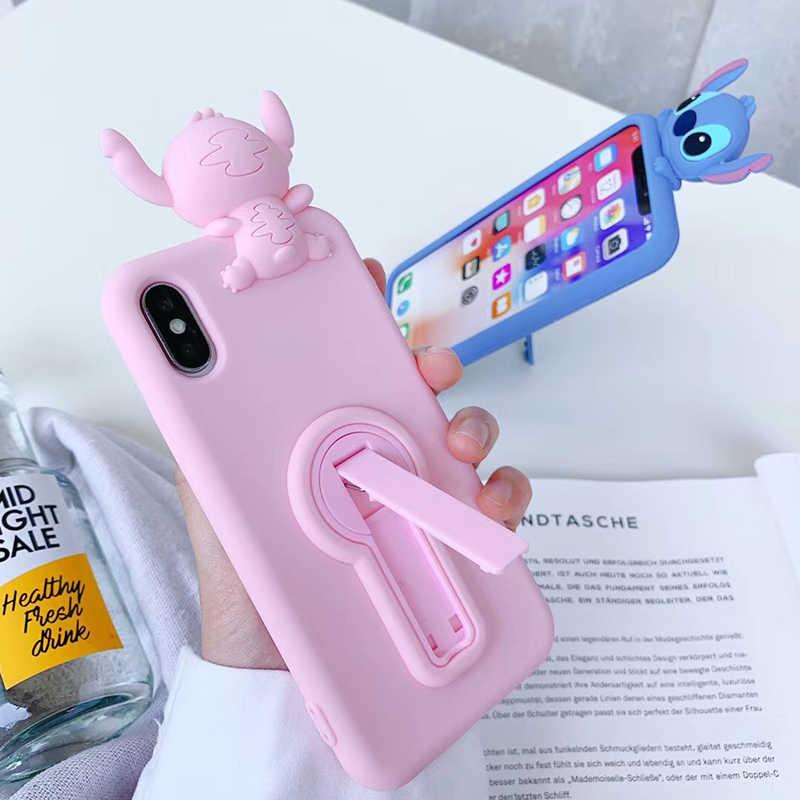 高級かわいい 3D ステッチサポートソフトシリコーン電話ケースのための iphone 6 S 6 S 7 7 プラス 8 8 プラス × 10 XR XS 最大 11 プロピンクバックカバー