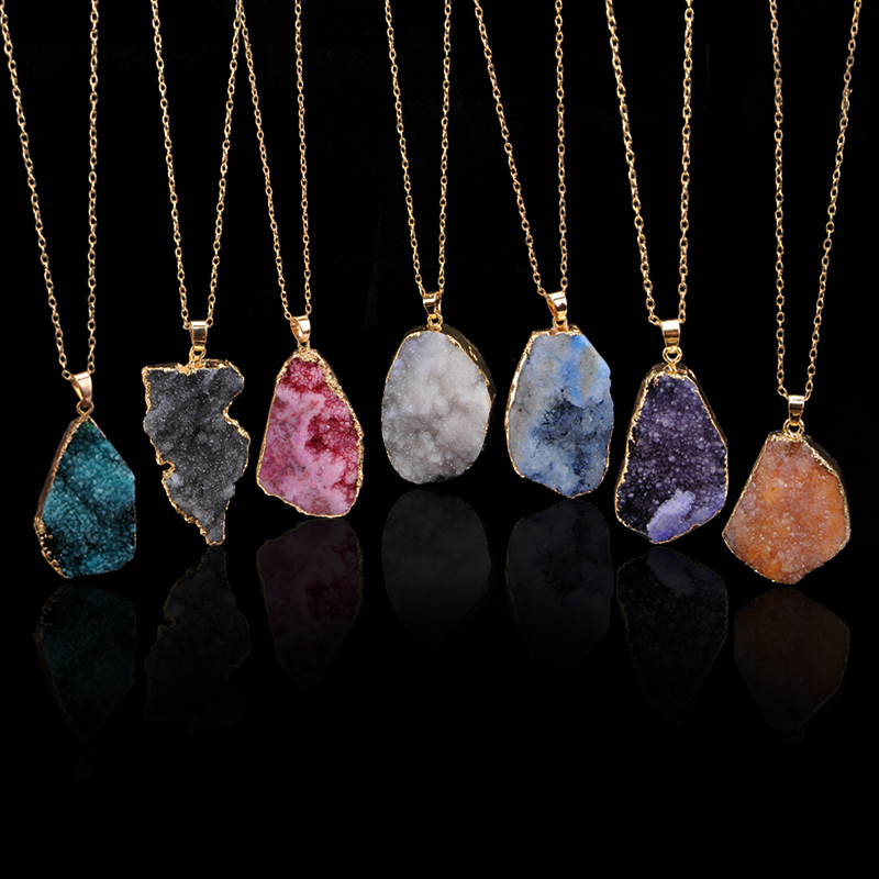 Ny Hot Sale Oregelbunden Natursten Quartz Crystal Halsband Slice Pendant Chain Necklace Smycken
