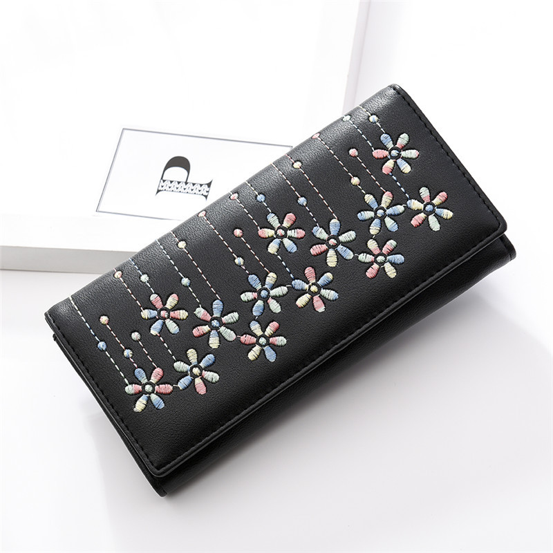 2018 Fashion Women Wallet Embroidered Long Purse Female Casual Pouch Handbag Women's Purse Portefeuille Femme Carteira Feminina 2018 women wallet female purse long horn deer iron side wallet carteira feminina purse female portefeuille femme wallet
