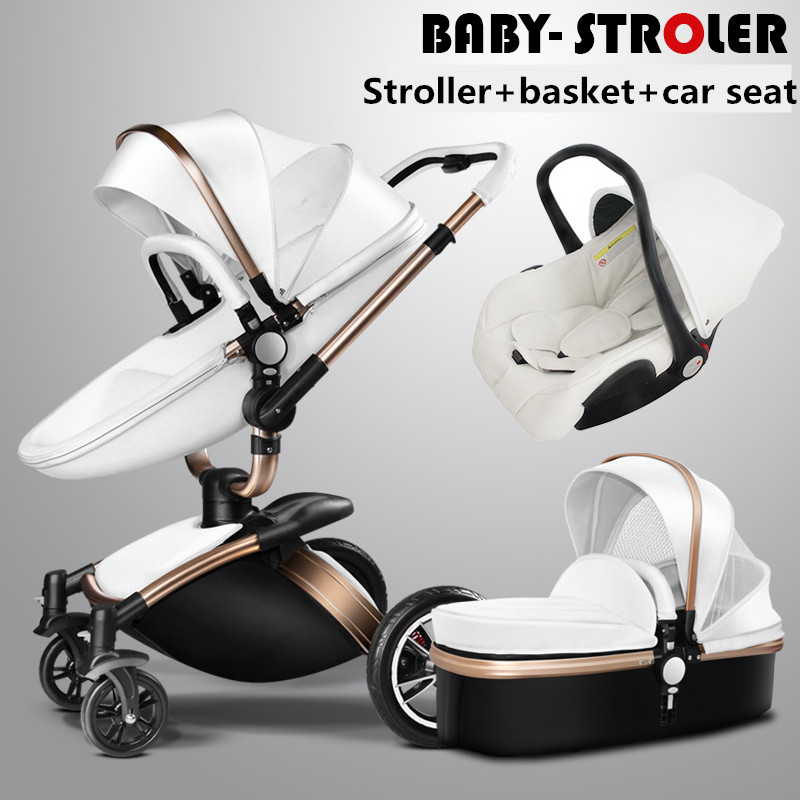 Free shipping! AULON Brand 3 in 1 baby stroller aluminium alloy baby pram leather two-way shock baby trolley carriage 1 piece free shipping anodizing aluminium amplifiers black wall mounted distribution case 80x234x250mm