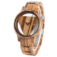 Full Wooden Watches Classical Men Hollow Triangle Face Wood Watch Fashion Unique Creative Bamboo Modern Wristwatch