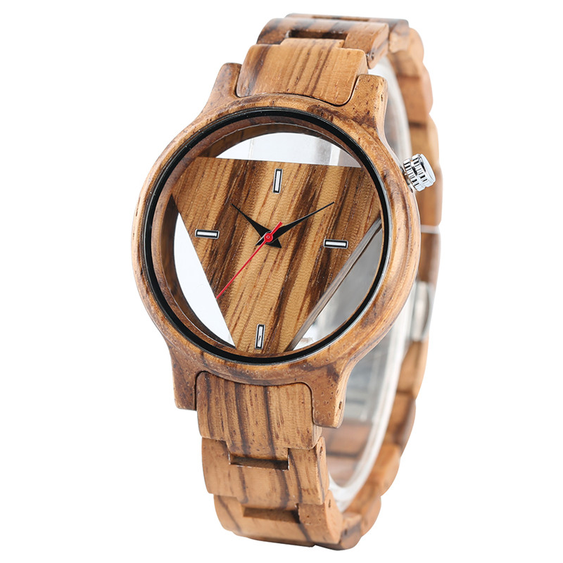 Full Wooden Watches Classical Men Hollow Triangle Face Wood Watch Fashion Unique Creative Bamboo Modern Wristwatch for Gifts fashion cool punk rock design men quartz wooden watch modern black genuine leather watchband unique wood watches gift for male