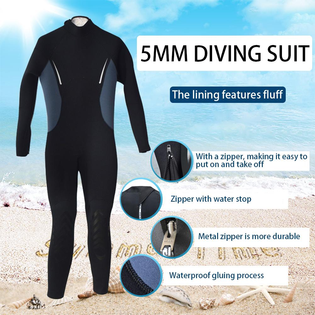 5MM Male Diving Suit Winter Swimming Fleece Lined Warm Deep Diving Professional Long-sleeved Trousers Wetsuit Blind Stitching цены