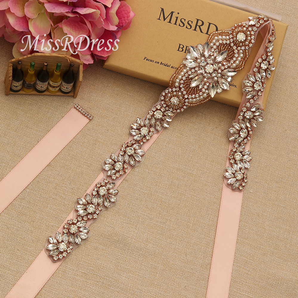 MissRDress Pearl Bridal Belt Sash Bead Rhinestone Wedding Belt Rose Gold Crystal Bridal Dress Sash For Wedding Accessories JK833
