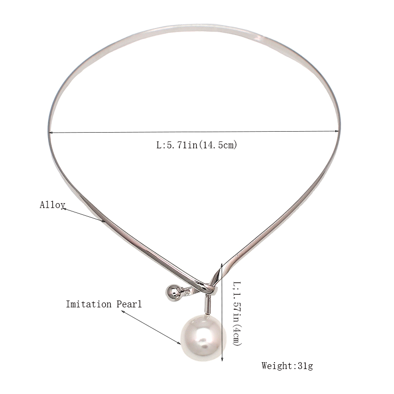 Alloy Torques Simulated Pearl Pendants Necklaces For Women Simple Design Statement Metal Collar Choker Necklace Jewelry UKMOC 1