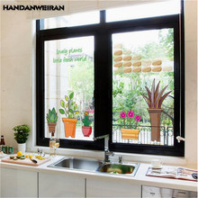 1 PCS Potted Nordic Style Wall Stickers Colorful Pvc For Window Glass Door Living Room Bedroom Home Decoration 50*70CM