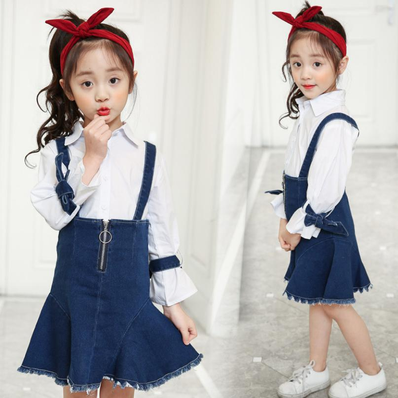 2018 New Autumn Children Clothing Sets Toddler Girls Baby Girls Clothes Childrens Kids Suits White Blouses Shirts + Denim Skirts цена 2017