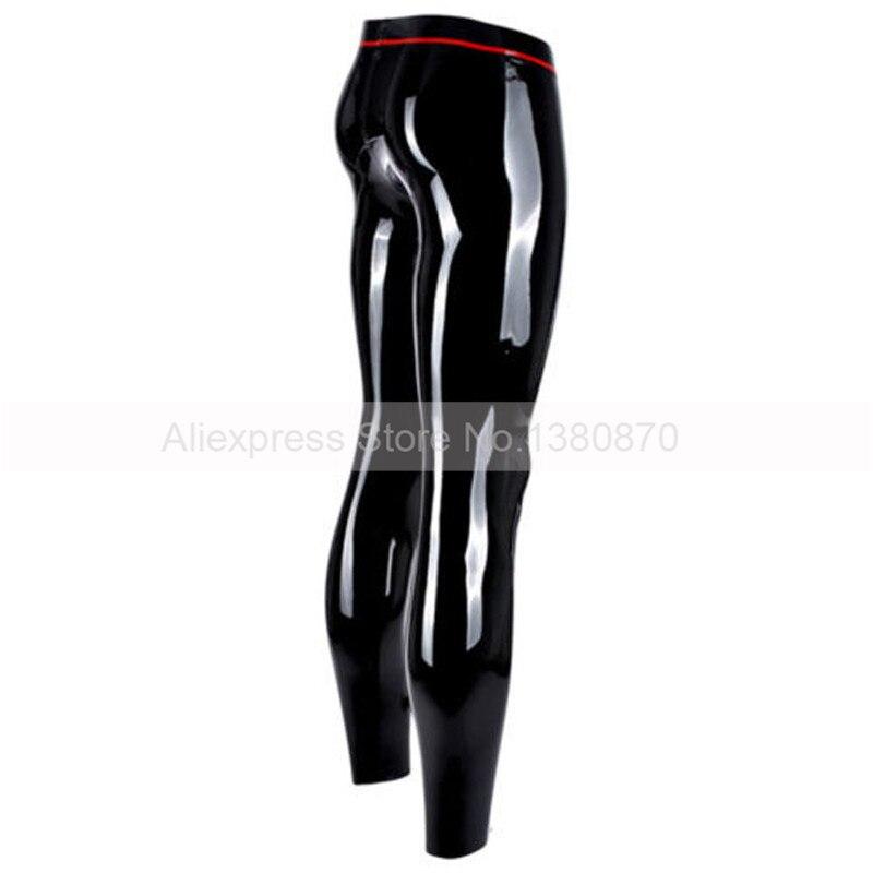 Sexy Pantalon En Latex Hommes Guêtres En Caoutchouc avec Entrejambe Pénis Anneau Trou S-LTM038 - 2