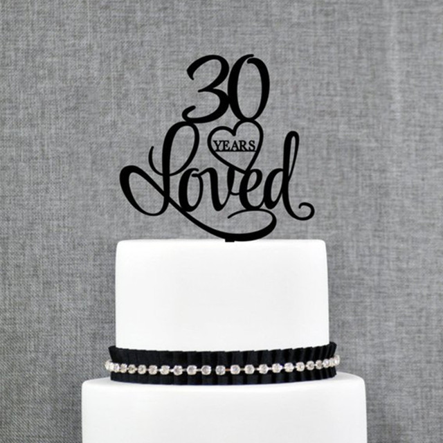 30 Years Loved Heart Birthday Cake Topper Elegant 30th Wedding Anniversary