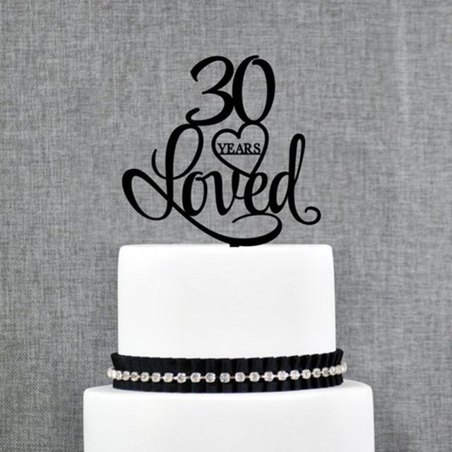 30 Years Loved Heart Birthday Cake Topper Elegant 30th Wedding Anniversary