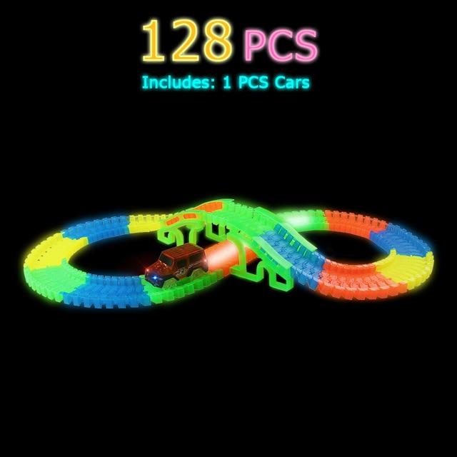 Светящийся гоночный трек изгиб Flex вспышка в темноте сборки гибкий игрушечных автомобилей/165/220/240 шт светящийся гоночный трек Набор DIY головоломки игрушки - Цвет: 128 pcs with 1car